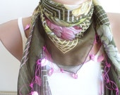 Women scarf, scarves, Scarf, beaded lace, brown, green triangle scarf,stylish accessory ,thin scarf, women fashion