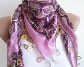 Scarf,  for women accessories, beaded lace, purple triangle scarf,stylish accessory,thin scarf, women fashion