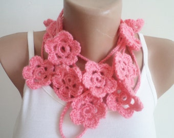 Crochet Scarf, Floral Scarf, Scarves, Neckwarmer, Women Accessories, pink scarf, Handmade gift ideas