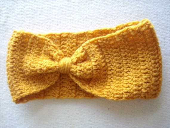 Mustard Crochet Headband, Ear Warmer, Turban, Head Warmer, Hair Accessories, Headbands, Winter headband, Knit Bow Headband, yoga, gifts