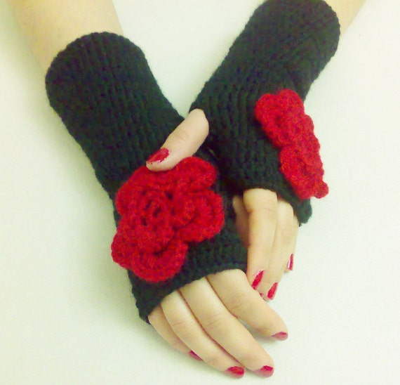 Romantic Black Gloves Crochet Mittens Handmade gloves Winter Accessories Crochet Gloves Winter Gloves Gift ideas For Her Gloves