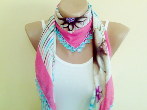 unique cheesecloth, beaded lace, pink and blue shawl,stylish accessory,thin scarf.