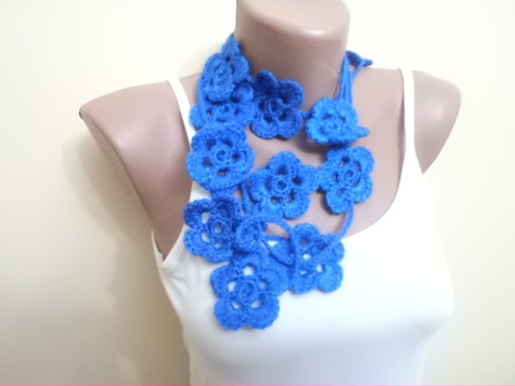 Women Lariat Crochet Scarf Woman Scarf Blue Women Accessories Scarves Floral Necklace For Women Gift İdeas Winter Trend Handmade Blue Scarf