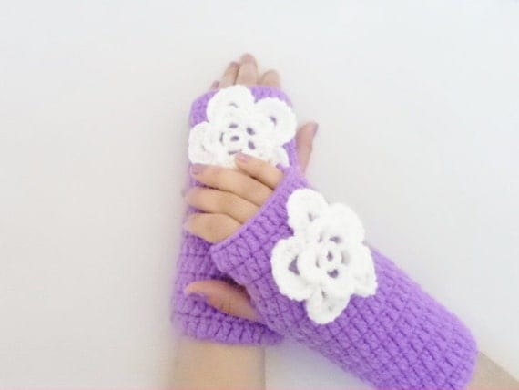 Autumn Gloves, Mittens, Fingerless Gloves, Fashion Accessories, hand crochet wool gloves, for her gifts, christmas gloves, purple