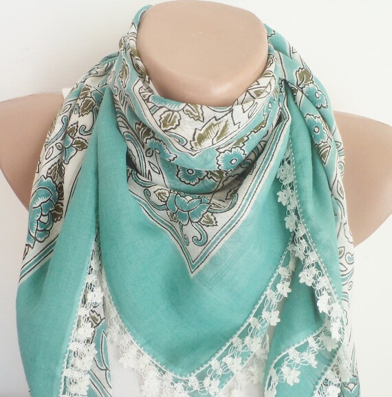 Turquoise unique scarf,  Women Fashion, Hand painted.
