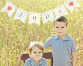 Valentine's day Burlap banner (LOVE). Wedding sign with hearts. Photography prop and wedding decoration.