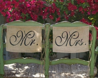 Burlap Wedding Chair signs - Mr and Mrs chair signs - Wedding chair burlap banner