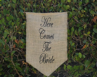 Here Comes The Bride banner with black font - Burlap Sign