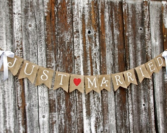 JUST MARRIED Burlap banner  - Wedding Banner - Photography shoot - Wedding reception