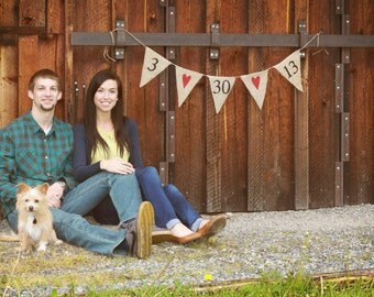 Save the Date banner - Burlap Banner - engagement photos - Photography prop