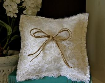 Ring bearer pillow - burlap and lace pillow