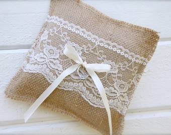Burlap ring bearer pillow - wedding pillow - burlap and lace