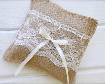 Burlap ring bearer pillow - wedding pillow - burlap and lace