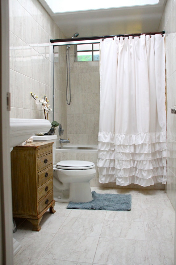 "White ruffled shower curtain 70"" x 72"" standard size - Shabby Chic -Beach -Cottage"