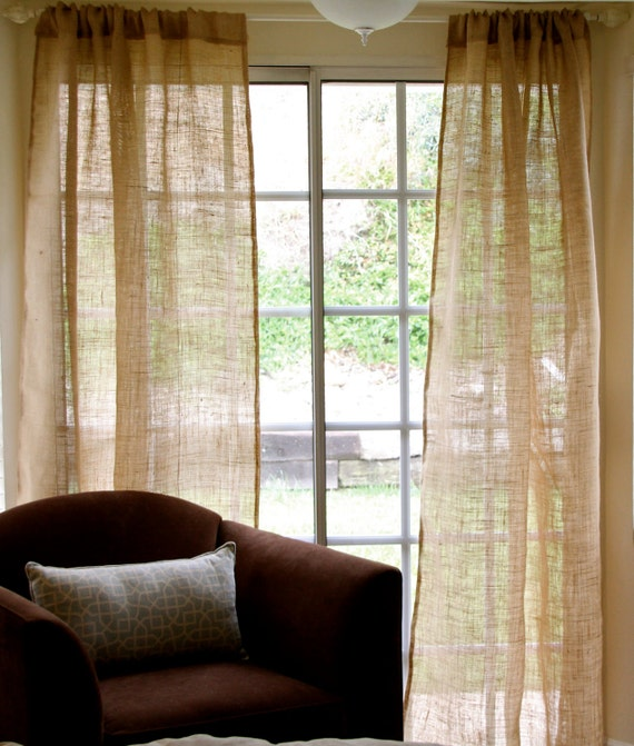 Art culos similares a par de cortinas r sticas playa del - Telas rusticas para cortinas ...