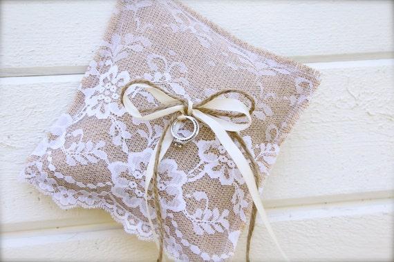 Burlap Ring Bearer pillow - burlap and lace pillow