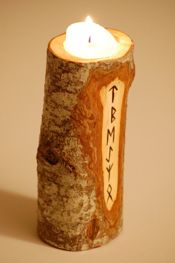 Natural Rune Candle Holder.