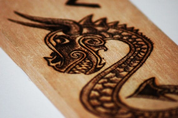 Norse Dragon Wood Burning, Fire Rune.