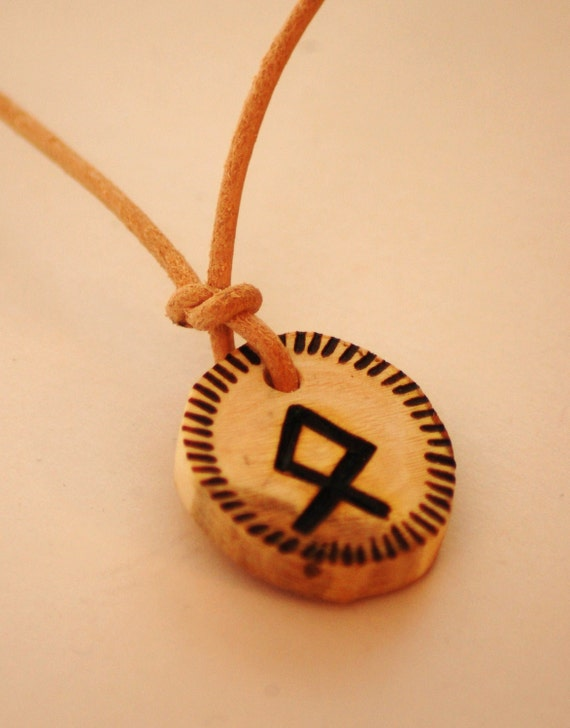 Odin Rune Pendant, Hawthorn Wood on Natural Leather.