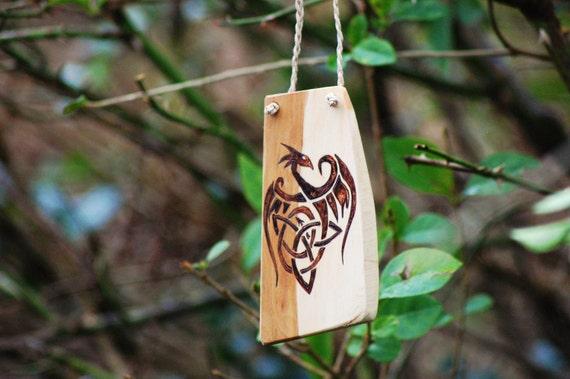 Celtic Dragon Hanging, Wood Burning on Hawthorn.