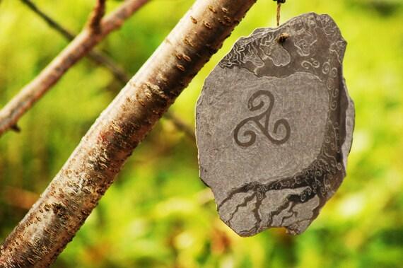 Celtic Spiral & Tree of Life Slate Carving.
