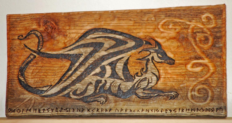 Celtic Dragon Wood Carving Burning Smaug The Hobbit