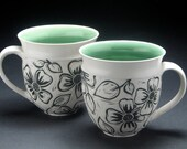 Porcelain Big Coffee Mug with Dogwood Design
