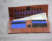 Duct Tape Woven Wallet- Blue and Black on Brown