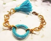 Turquoise and Gold- Bracelet with Crochet Element and Tassel