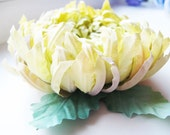 SALE- Handmade Millinery Yellow Chrysanthemum Brooch