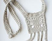 SALE - Crochet Linen Necklace with Baltic Amber