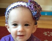 Crochet Baby Headband Photo Prop Girl Purple Large Flower