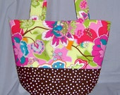"""Quilted Bag Purse Floral Paisley Brown Pink """"Ready to Ship"""""""