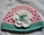 Crocheted Baby Hat Flower Beanie Pink Green Infant Photo Prop Girl