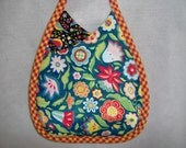 Quilted Bag Paisley Purse Black Turquoise Shoulderstrap Small
