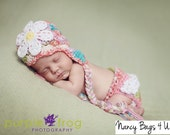 Crochet Newborn Hat and Diaper Cover, Baby Girl Photo Prop