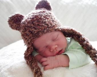 Crochet Baby  Bear Hat, Crochet Newborn Hat, Brown Bear Hat, Newborn Photo Prop, Baby Animal Hat