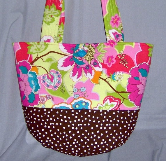 "Quilted Bag Purse Floral Paisley Brown Pink ""Ready to Ship"""