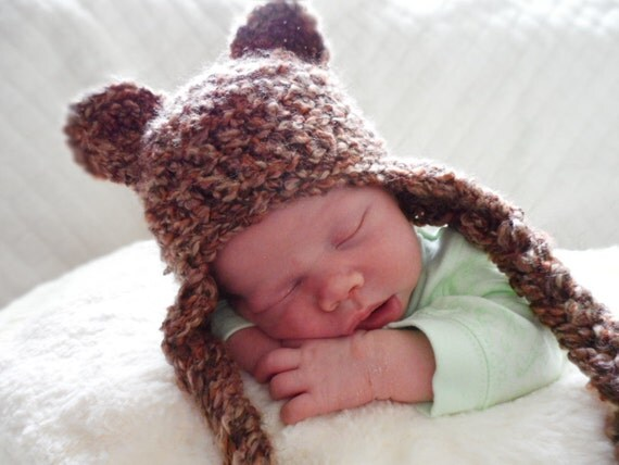 Crochet Baby Hat, Crochet Newborn Hat, Brown Bear Hat, Newborn Photo Prop, Baby Animal Hat