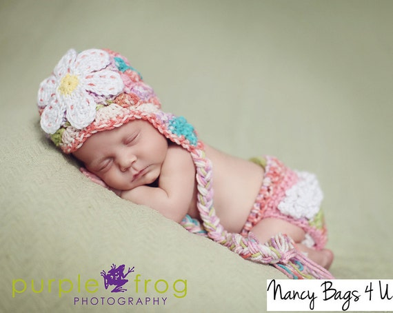 Crochet Baby Hat and Diaper Cover, Crochet Newborn Hat, Diaper Cover, Newborn photo props, Baby accessories