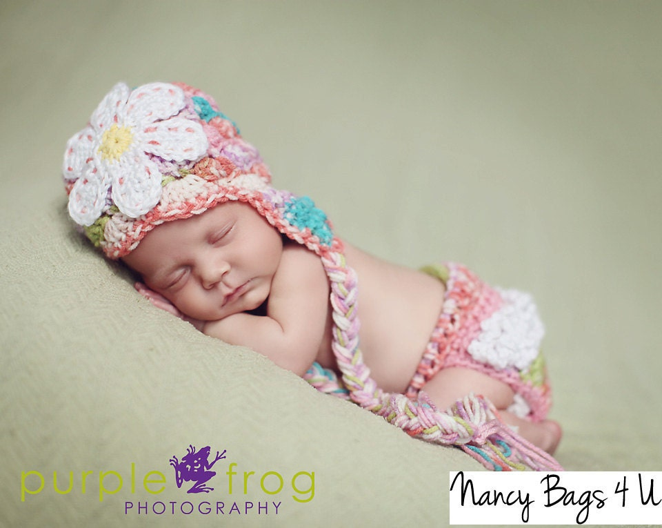 Crochet Baby Hat and Diaper Cover Crochet Newborn by NancyBags4U