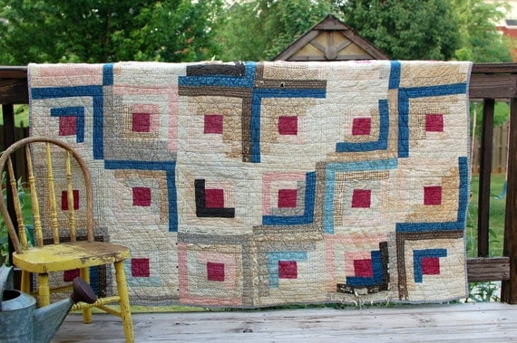 vintage antique quilt brown blue and cream white old hand quilted calico prints log cabin