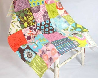 Modern Patchwork Baby Blanket with Sugar Pop fabric by Moda