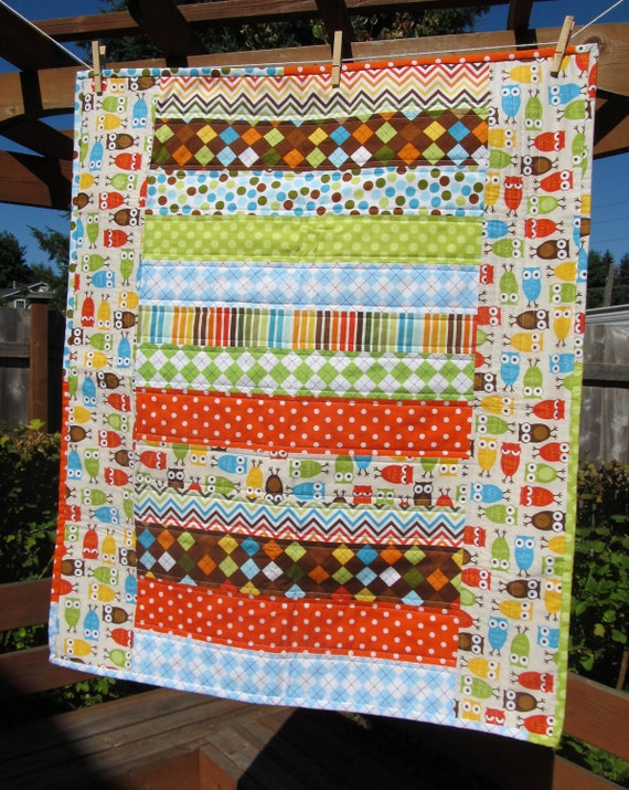 """Modern Baby Quilt with Owls, argyle and Zig Zag Fabric 30""""x36"""""""