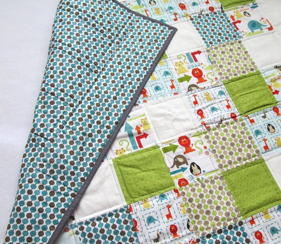 Baby Boy Patchwork Crib Quilt in Green, Teal Gray Alphabet Soup Fabric