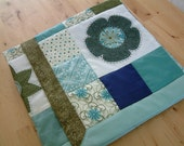 Hand embroidered APPLIQUE and PATCHWORK cotton floral baby QUILT, ready to ship