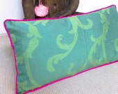 "Silk ""Indochina"" Pillow -- Designer Decorative Pillow -- Accent Pillow 14''x24''---"