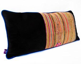 "Black Velvet ""Sapa"" Pillow -- Designer Decorative Pillow -- Accent Pillow 14''x24''---30cmX60cm"