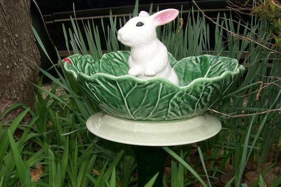 Bunny Cabbage Birdbath Totem