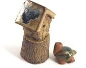 Turtle and Bird House ceframic sculpture OOAK  Garden miniature   Blue   Green   Teal